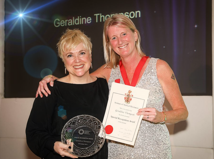 Geraldine Thompson (left) receiving her Special Recognition Award 2019