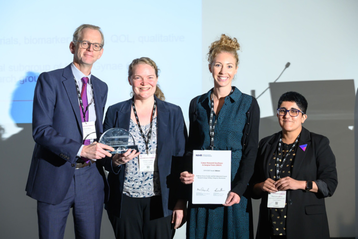 Dr Richard Shaw, NIHR, presenting CREST award to Professor Emma Crosbie and Dr Chloe Barr, with Dr Shamaila Anwar, NIHR
