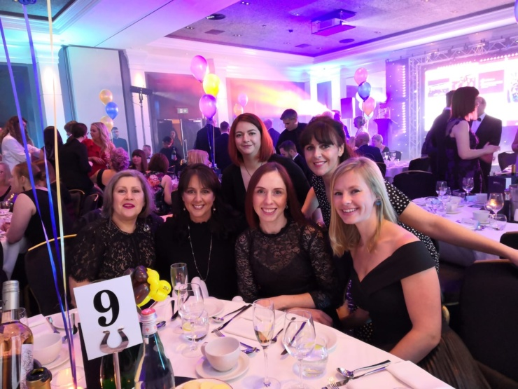A photo of Catherine Chmiel with the MFT Midwifery Research Team, which was nominated