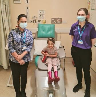 A photo of L to R: Dr Zunaira Kausar, her daughter Arwa Amin (four) and Zoe Johnston, a Research Administrator who is part of the COVID Warrior Research