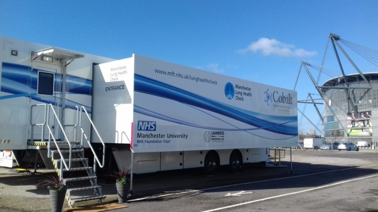 Lung Health Check trucks at the Etihad Stadium, Manchester