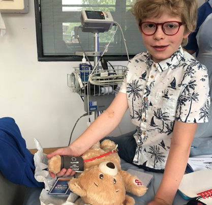 Leo carries out blood pressure tests on his favourite teddy
