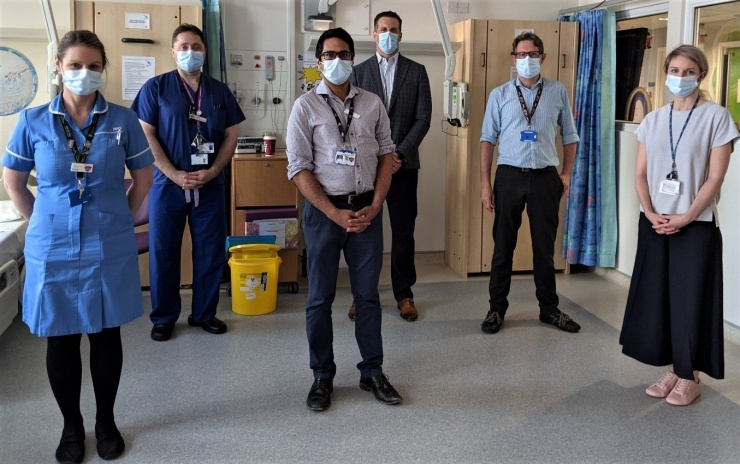 Photo shows L to R: Michelle Saggers; Senior Paediatric Clinical Research Nurse, Professor Ian Kamaly-Asl; Professor of Paediatric Neurosurgery, Dr Arunabha Ghosh; Consultant in Paediatric Inherited Metabolic Medicine, Dr Bryan Pukenas; Professor of Radiology (University of Pennsylvania); Dr Simon Jones; Consultant in Paediatric Inherited Metabolic Disease and Dr Aimee Donald; Paediatric Research Fellow.
