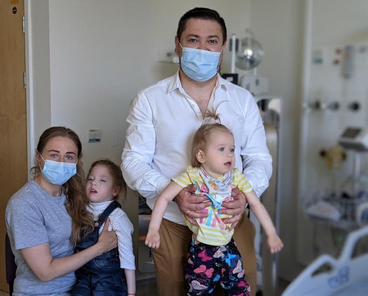 Photo shows L to R: Ekaterina, Sofia (five), Maksim and Stefaniia (two).
