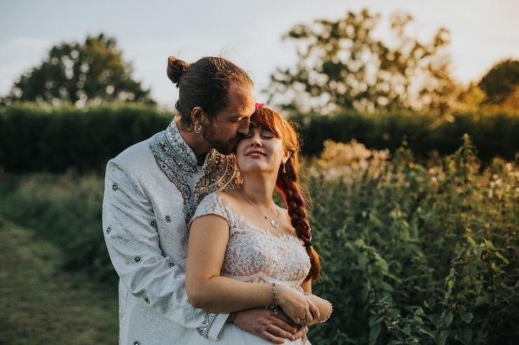 A photo of Dan and Emily on their wedding day